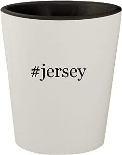 #jersey - White Outer & Black Inner Hashtag Ceramic 1.5oz Shot Glass