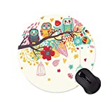 Watercolor Owl Background Mouse Pad Round Non-Slip Mouse Pad Office Computer Accessories Mouse Pad Gaming Mouse Pad (200mm x 200mm x 3mm)