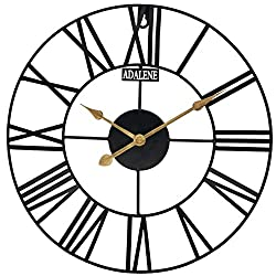 Adalene Extra Large Wall Clock 24 Inch - Vintage Rustic Oversized Metal Wall Clocks for Living Room Décor - Wall Clocks Battery Operated Decorative Farmhouse Wall Clock, Big Huge Retro Outdoor Clock
