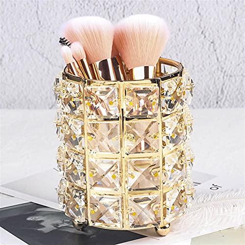 WNAVX Metall Makeup Pinsel Aufbewahrungsröhre Augenbraue Bleistift Makeup Lagerung Perlen Kristall Schmuck Aufbewahrungsbox (Color : Gold)