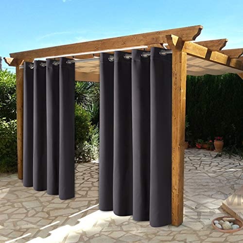 BONZER Waterproof Indoor/Outdoor Curtains for Patio - Thermal Insulated, Sun Blocking Grommet Blackout Curtains for Bedroom, Porch, Living Room, Pergola, Cabana, 2 Panels, 52 x 108 inch, Dark Grey