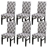 Stretch Dining Chair Covers, Spandex Fabric Fit Washable Removable Short Dining Chair Protector Cover for Dining Room, Hotel, Ceremony,Banquet Wedding Party (Y-Gray, 6 per Set)