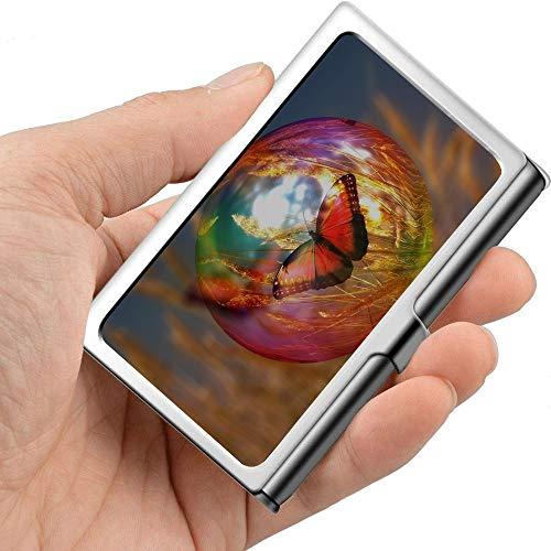 Burbuja de jabón Butterfly Cornfield Light Reflexes Portatarjetas de visita compacto Estuche de tarjeta de visita personalizado Metal profesional 3.81x 2.7 X 0.29 pulgadas Portatarjetas de visita de