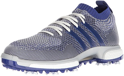 adidas Men's TOUR360 Knit Golf Shoe, Grey one/Real Purple FTWR White, 7 Medium US