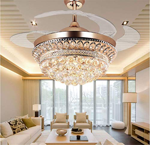 42-Inch Crystal Invisible Ceiling Fan with Light, LED Chandelier with Remote Control Retractable Blade Adjustable Tri-color and 3 Wind Speed Decorative Lighting Fans Chandelier (gold)