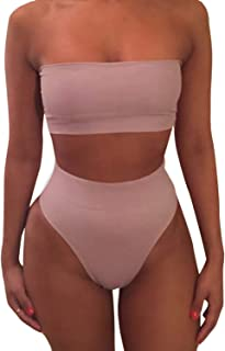 Pink Queen Women's Removable Strap Wrap Pad Cheeky High Waist Bikini Set Swimsuit