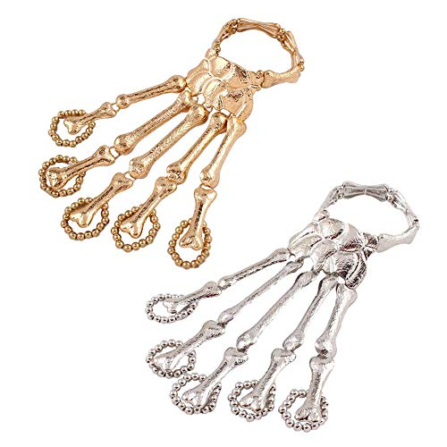 Pulsera de mano de esqueleto, 2 pulseras de esqueleto de metal, pulsera elástica de esqueleto de mano, diseño de calavera, huesos de mano, joyería de Halloween para mujer (oro y plata)