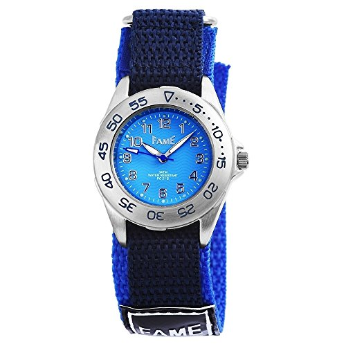 Fame Damen Armbanduhr Analog Quarz Textilklettband Blau