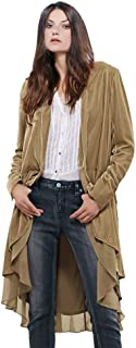 Women Ruffled Asymmetric Long Velvet Blazers Coat Casual Jackets