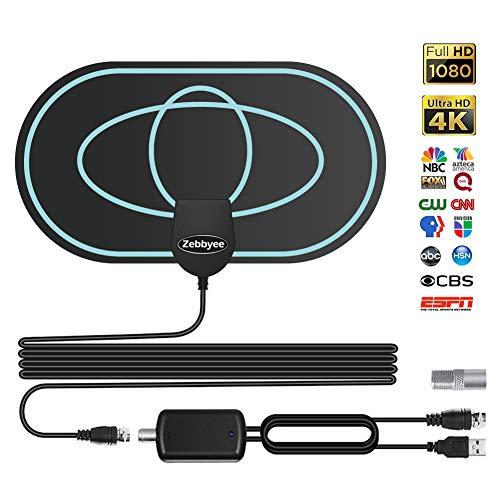 Antena Interior TV, Antena de TV de Rango Amplificado de 75-120 Millas Antena TDT, Digital HDTV Antena Portatil para DVB-T, con Amplificador de Señal y Cable Coaxial de 12.1 FT