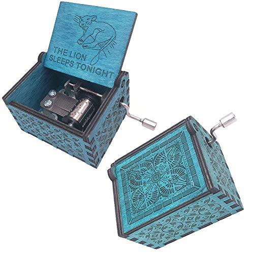 FnLy Caja de música grabada de madera con 18 notas, diseño de anime The Lion Sleeps Tonight, color azul