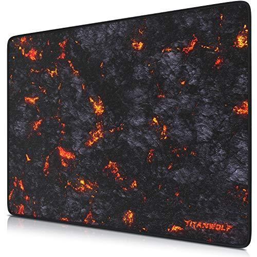 TITANWOLF - XL Tappetino per Mouse da Gioco - Gaming Mousepad Grande 440 x 350mm - Pad con Base in Gomma Antiscivolo - Spessore 3mm - Nero - Modello Lava