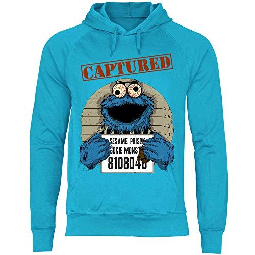 wowshirt Sudadera con Capucha Halloween Cookie Wanted Terror del Monstruo de la Galleta para Hombre, Tamaño:S, Color:Azure Blue
