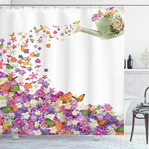 Blumenduschvorhang,Schmetterlinge Narzissenblüten Veilchen & Stiefmütterchen,die aus der alten Gießkanne herausgießen,Stoff Stoff Badezimmer Dekor Set mit,Grüngelb mit 12 Plastikhaken 180x210cm