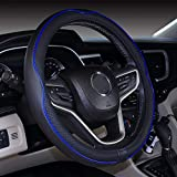 Microfiber Leather Car Steering wheel Cover 15 Inches Black Dark Blue