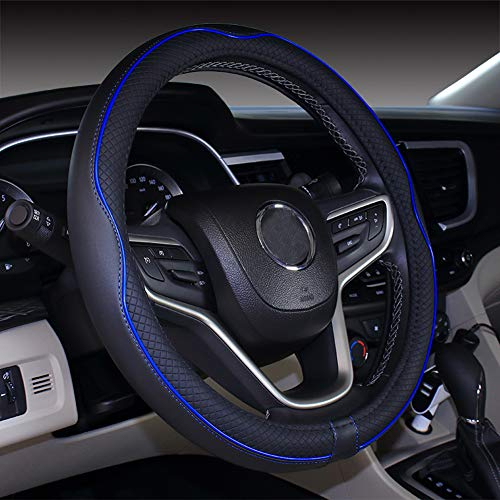 Mayco Bell Microfiber Leather Car Medium Steering wheel Cover (14.5''-15'',Black Dark Blue)
