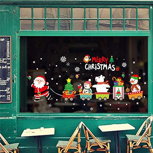 99native Frohe Weihnachten Schneeflocken Fensterdeko Aufkleber Abnehmbare Fensterkleber Applique Wandsticker Wandtattoo Wandaufkleberungiftig, Ungiftig Wasserdicht für Kinderzimmer (Mehrfarbig)