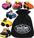 Fisher-Price Little People Wheelies Vehicles Gift Set Blind Bundle with Exclusive Matty's Toy Stop Storage Bag - 6 Pack (Assorted Styles)