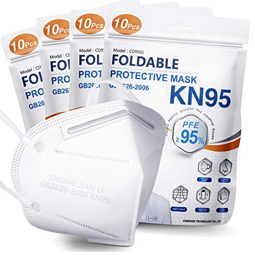 KN95 Face Mask 40 PCs, Filter Efficiency≥95%, 5 Layers Cup Dust Mask, Masks Against PM2.5 from Fire Smoke, Dust, for Men, Women, Healthcare Worker, Essential Workers(White)