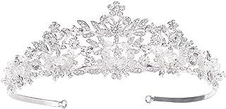 Voarge Diadem ślubny dla dorosłych, kryształowa korona księżniczki, diadem dla panny młodej, na wesele, uroczystości, sreb...