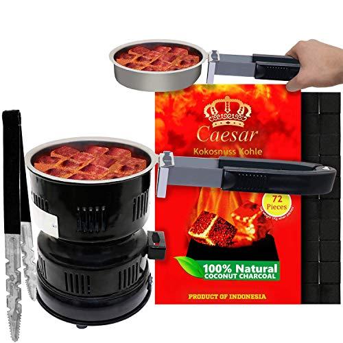Caesar | 1KG | Premium Kokosnuss Naturkohle für Shisha & BBQ [Shisha Kohle] 2.5 cm | 72 Stück inkl. Blitz 02 Kohleanzünder + Kohlezange XL Black