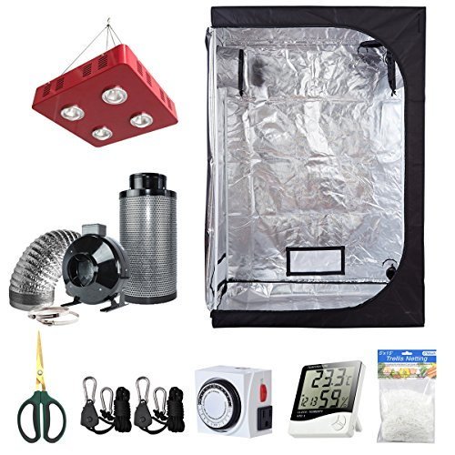 BloomGrow 48''x24''x72'' Grow Tent + 6'' Fan Filter Duct Combo + 800W LED Light + Hangers + Hygrometer + Shears + 24 Hour Timer + Trellis Netting Indoor Grow Tent Complete Kit