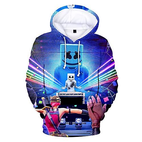 LVTIAN Jungen 3D Pullover Smiley-DJ Music Print, Marshmello Fans Hip Hop Streat Mode Pullover Kapuzen Pullover Sweatshirts (Color : 1, Size : XS)