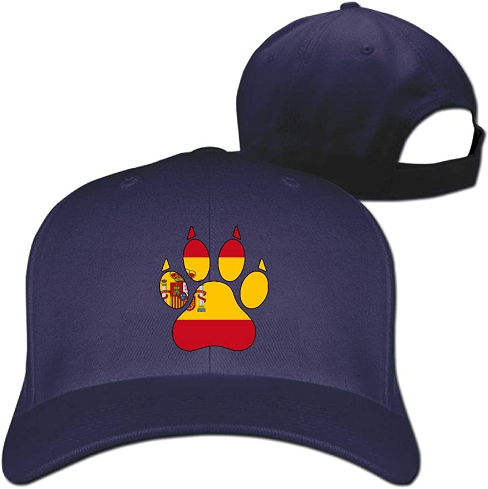 Pure Color Quick-Dry Spain Flag Dog Paw Cabbie Hat Cotton Baseball Hat Cap for Unisex