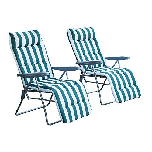 Outsunny 2 x Klappstühle Gartenstuhl Sonnenliege Armlehne klappbar 5 Positionen Auflage Grün 60 x 75 x 104 cm