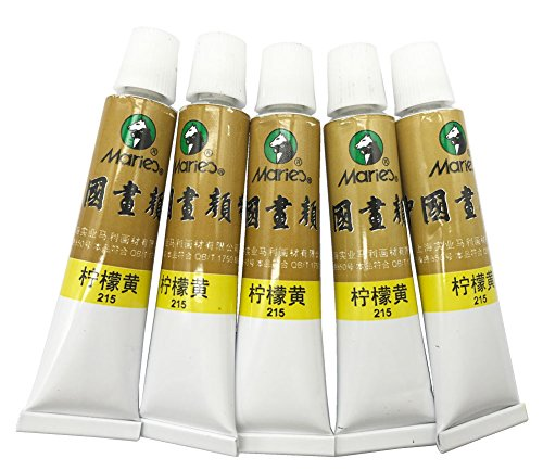 Marie's Big Size Chinese Painting Color Tubes Watercolor Drawing 12ml5pcs No. 215 Lemon Yellow