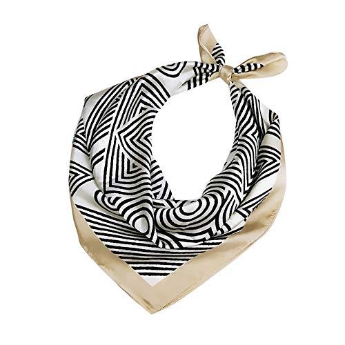 Fansi - Pañuelo para mujer, diseño elegante, corto, varios diseños decorativos, para decorar la mano, el pelo, el sombrero o la bufanda (1 pieza, caqui)