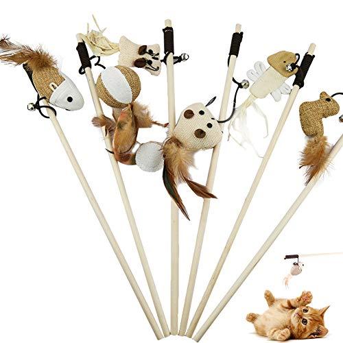 NALCY 6 Piezas Juguetes Interactivos para Gatos, Juego de 6 Varitas Mágicas con 6 Peluches, Palo de Madera con Ratón, Plumas Naturales, Peluche y Cuerda Superelástica de 40 cm
