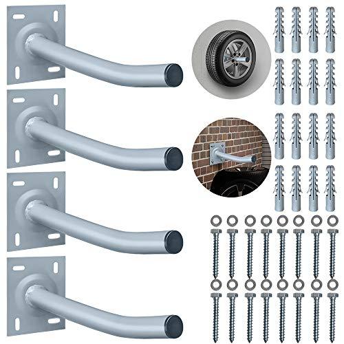 YINGXI 4X Autoreifen Wandhalter 36,5cm Reifenhalter Halterung für Garage Auto Felgen Reifen Wandhalterung inkl. Schrauben & Dübel bis 50KG