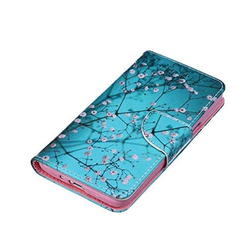 ISAKEN Flip Custodia per Samsung G530 Galaxy Core Prime, Creative Disegno stampa stile del libro Portafoglio Cover Case in PU Cuoio Wallet Caso copertina con funzione di supporto e morbido TPU cassa interna - fiori bianco blu