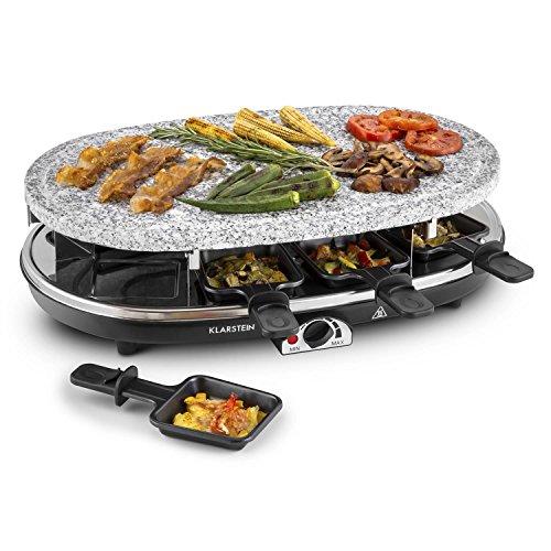 Klarstein Steaklette Raclette-Grill - Parrilla de mesa, Barbacoa-Party, 1500W, regulador de temperatura, Plancha de granito natural, 8 sartenes, Antiadherente, Negro