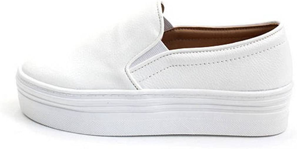 EpicStep Women's Casual Simple Slip-On Mid Heels Thick Soles Platform Shoes Low Fashion Sneakers