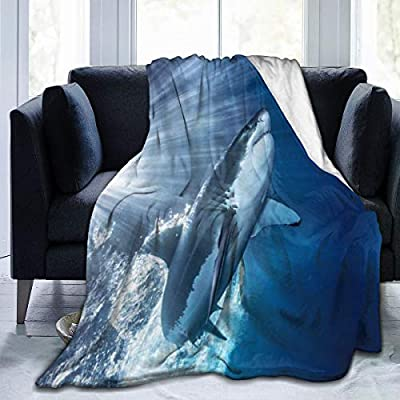 Twenteer Great White Shark Soft Blanket All Season Travel Cozy Plush Throws Blankets Warm Lightweight Thermal Fleece Blankets for Couch Bed Sofa
