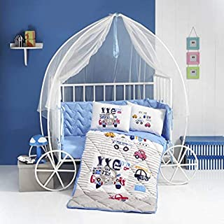 PikaBaby 4-Piece Crib Bedding Set(100% Cotton) Complete Nursery Bedding Set with Crib Fitted Sheet, Toddler Pillowcase, Crib Quilt with Detachable Protector, Modern Crib Bumper for Baby(Car)