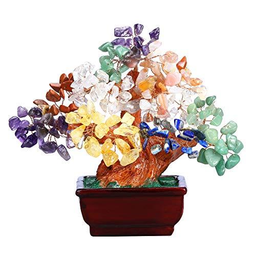 JSDDE Árbol Feng Shui decorativo, árbol de la vida, dinero con maceta resina, piedra curativa, amuleto suerte, casa, mes