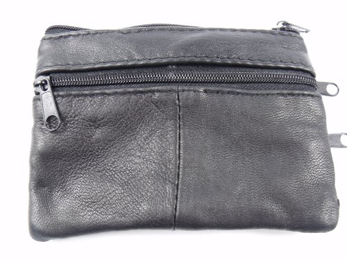 Unisex Soft Black Genuine Leather Coin Pouch