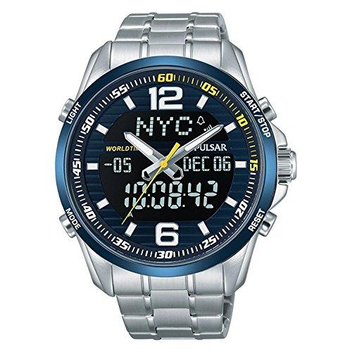 Pulsar Rally Herren-Uhr Chronograph Edelstahl mit Titankarbidlünette und Metallband PZ4003X1