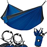 Legit Camping - Double Hammock - Lightweight Parachute Portable Hammocks for Hiking, Travel, Backpacking, Beach, Yard Gear Includes Nylon Straps & Steel Carabiners (Charcoal/Sapphire)