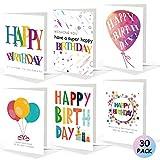 Biglietto di Compleanno per Lei, Confezione da 30 biglietti di compleanno con 6 motivi colorati per amico / sorella / moglie, Biglietti di auguri di compleanno con buste per donne, uomini e bambini