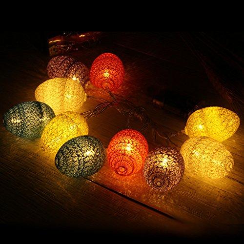 Yazidan 1,8 Mt 10 Stück Osterei Led Licht für Ostern Party Dekoration Hochzeitsdekoration Hölzerne Ostereier hölzernes Handwerk für Ostern-Dekorations