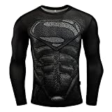 Jack Cordee Men's Long Sleeve Superman Compression Shirt Outdoor Sports Quick Drying 3D Print Compression Shirt (Black, XX-Large = US X-Large)