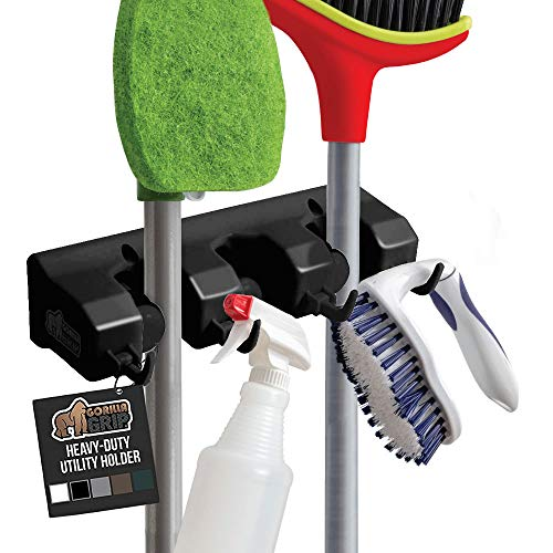 Gorilla Grip Premium Mop and Broom Holder, 3 Auto Adjust Slots, 4 Hooks, Easy Install Wall Mount, Store Cleaning and Gardening Tools, Organize Kitchen, Garage, Storage Rooms, Black