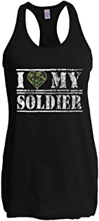 Xekia I Love My Soldier US Army Army Wives Army Men Women's The Jersey Racerback Tank