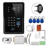 Naroote 【𝐇𝐚𝐩𝐩𝒚 𝐍𝐞𝒘 𝐘𝐞𝐚𝐫 𝐆𝐢𝐟𝐭】 WiFi Doorbel, Inteligente Timbre inalámbrico Videoportero con Cerradura de Control eléctrico 110-240V(Negro)