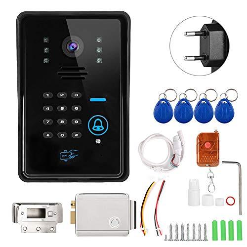 Naroote WiFi Doorbel, Inteligente Timbre inalámbrico Videoportero con Cerradura de Control eléctrico 110-240V(Negro)