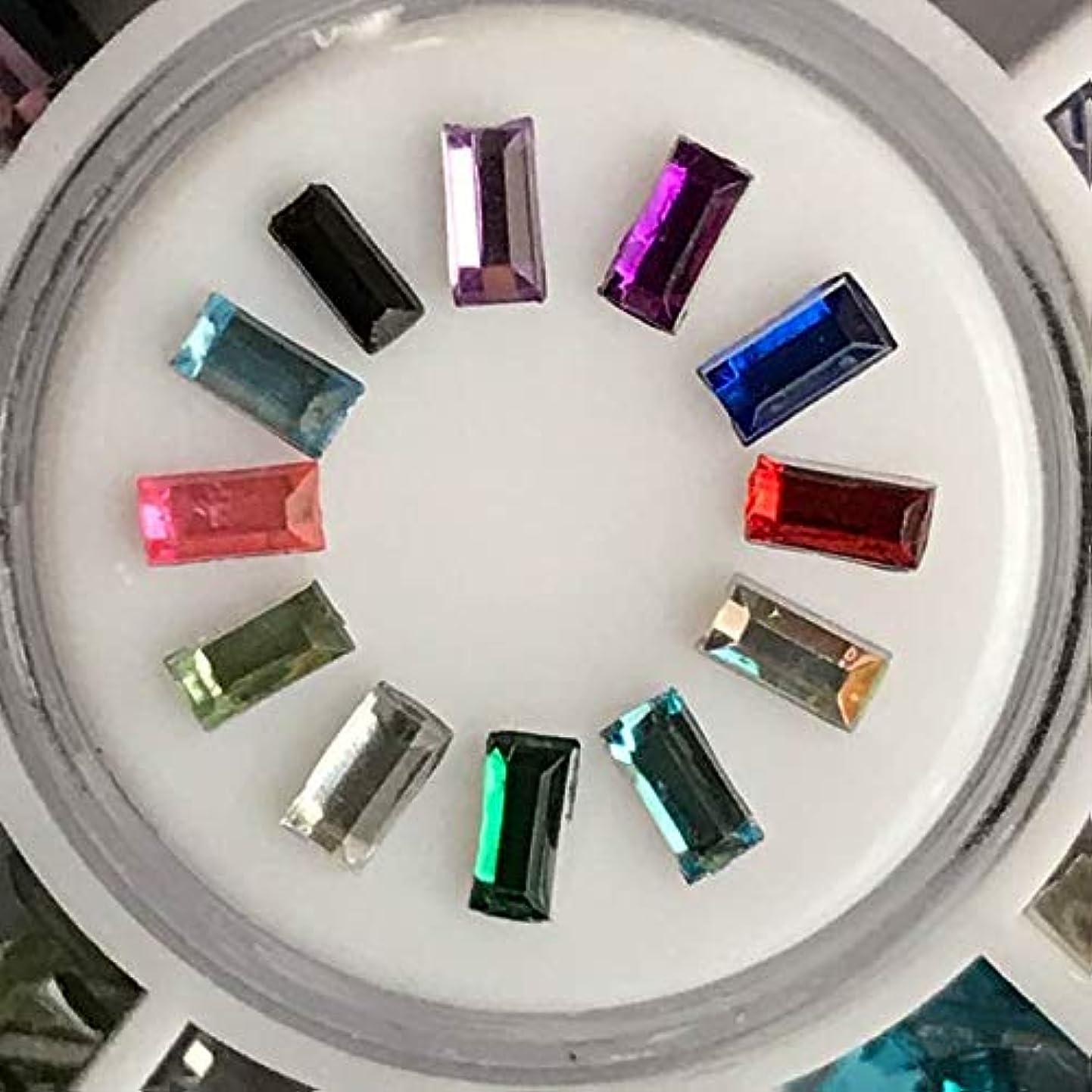 アクリルラインストーン12色セットネイル用DIYアクセサリーハンドメイド素材パーツ (細い長方形スティック)